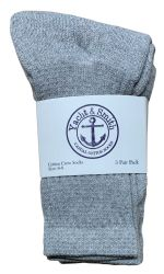 48 Bulk Yacht & Smith Kids Cotton Crew Socks Gray Size 6-8