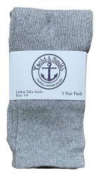 24 Bulk Yacht & Smith Kids Gray Solid Tube Socks Size 4-6