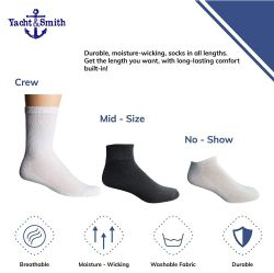 36 Bulk Yacht & Smith Kids Cotton Crew Socks Black Size 4-6