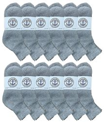 12 Bulk Yacht & Smith Men's Cotton Sport Ankle Socks Size 10-13 Solid Gray