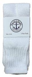 72 Bulk Yacht & Smith Women's Cotton Tube Socks, Referee Style, Size 9-15 Solid White
