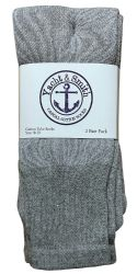 12 Bulk Yacht & Smith Women's Cotton Tube Socks, Referee Style, Size 9-15 Solid Gray