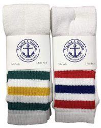 12 Bulk Yacht & Smith Kids Cotton Tube Socks Size 6-8 White With Stripes