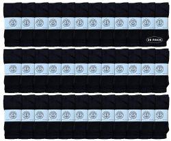 36 Bulk Yacht & Smith Kids Solid Tube Socks Size 6-8 Black