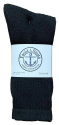 24 Bulk Yacht & Smith Men's Cotton Crew Socks Black Size 10-13