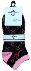 60 Bulk Yacht & Smith Pink Ribbon Breast Cancer Awareness Ankle Socks For Women