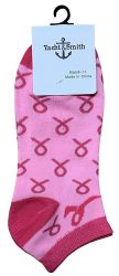 12 Bulk Yacht & Smith Pink Ribbon Breast Cancer Awareness Ankle Socks For Women