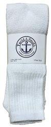 24 Bulk Yacht & Smith Men's 32 Inch Cotton King Size Extra Long White Tube SockS- Size 13-16