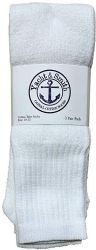 72 Bulk Yacht & Smith Men's 32 Inch Cotton King Size Extra Long White Tube SockS- Size 13-16