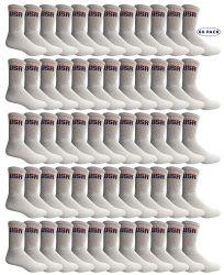 60 Bulk Yacht & Smith Mens Wholesale Bulk Cotton Socks, Athletic Sport Socks Shoe Size 8-12 (white Usa, 60)
