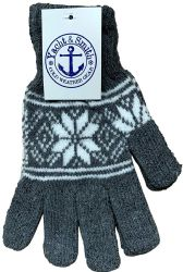 48 Bulk Yacht & Smith Mens Snow Flake Thermal Winter Gloves