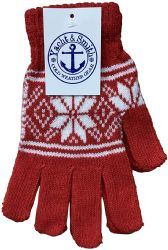 48 Bulk Yacht & Smith Snowflake Print Womens Winter Gloves With Stretch Cuff