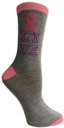 12 Bulk Pink Ribbon Live Breast Cancer Awareness Crew Socks For Women