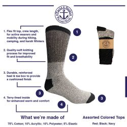 120 Bulk Yacht & Smith Mens Cotton Thermal Crew Socks , Warm Winter Boot Socks 10-13