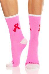 12 Bulk Yacht & Smith Pink Ribbon Breast Cancer Awareness Crew Socks For Women 12 Pairs