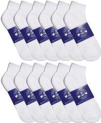 72 Bulk Yacht & Smith Mens Cotton White No Show Ankle Socks, Sock Size 10-13