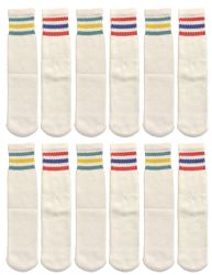 240 Bulk Yacht & Smith Kids Cotton Tube Socks White With Stripes Size 4-6 Bulk Pack