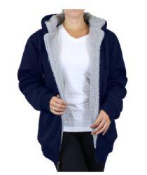 12 Bulk Women's Loose Fit Oversize Full Zip Sherpa Lined Hoodie Fleece - Navy Size XXL
