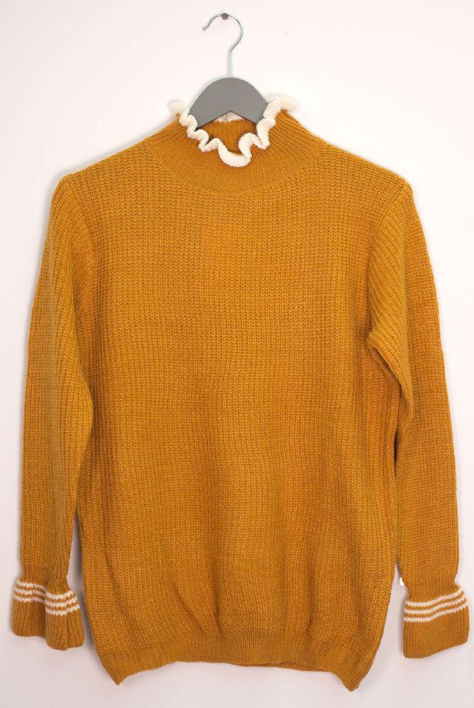 12 Bulk Tipped Ruffle Mock Neck Sweater Mustard