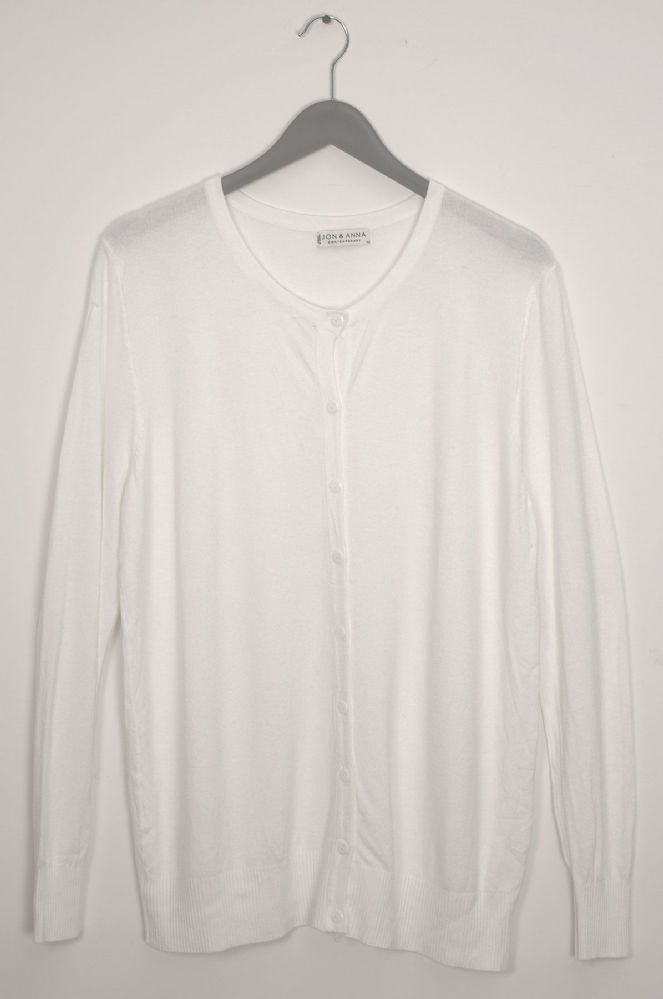 12 Bulk Basic Crew Neck Cardigan White