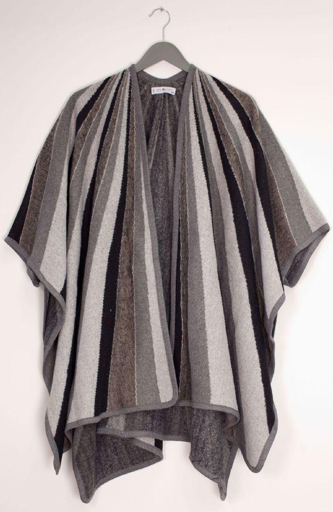 12 Bulk Vertical Multi Stripe Cape Gray