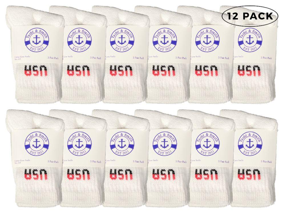 12 Bulk Yacht & Smith Kids Cotton Crew Socks White Usa Size 6-8