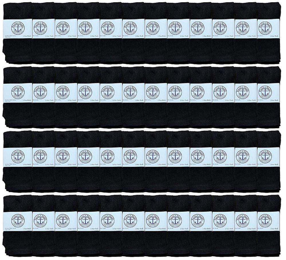 48 Bulk Yacht & Smith Kids Black Solid Tube Socks Size 4-6