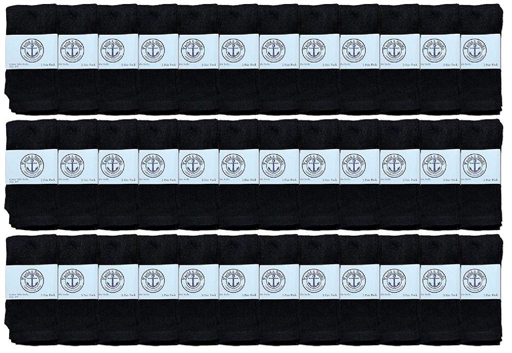 36 Bulk Yacht & Smith Kids Black Solid Tube Socks Size 4-6
