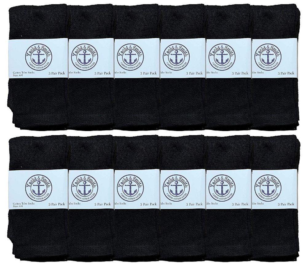 12 Bulk Yacht & Smith Kids Black Solid Tube Socks Size 4-6