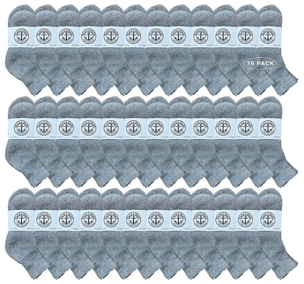 36 Bulk Yacht & Smith Kids Cotton Quarter Ankle Socks In Gray Size 6-8