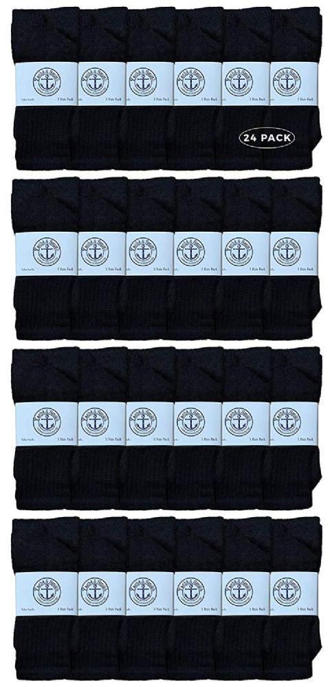 24 Bulk Yacht & Smith 28 Inch Men's Long Tube Socks, Black Cotton Tube Socks Size 10-13