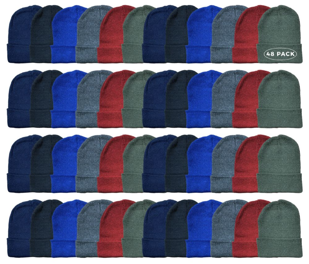 48 Bulk Yacht & Smith Kids Winter Beanie Hat Assorted Colors
