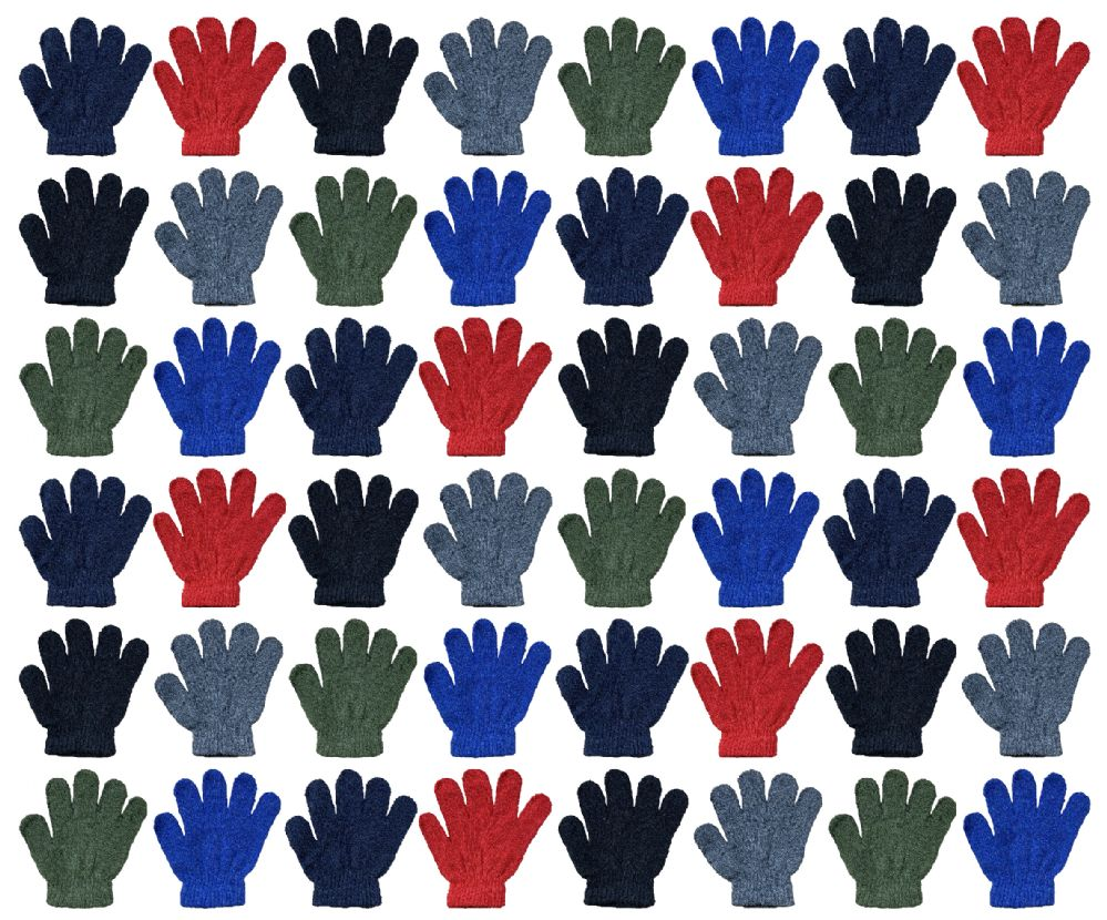 48 Bulk Yacht & Smith Kids Warm Winter Colorful Magic Stretch Gloves Ages 2-5