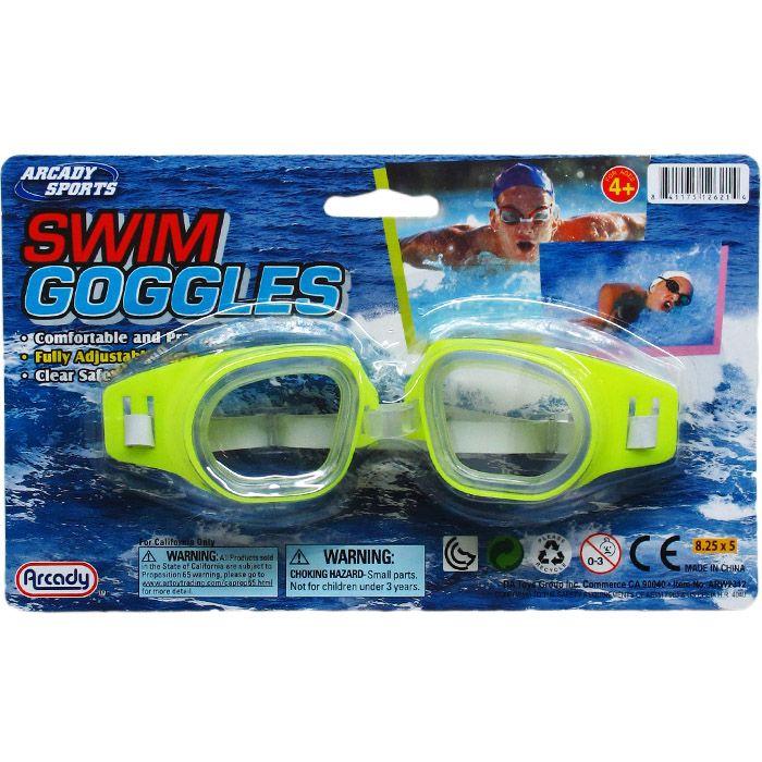 "96 Bulk 6"" Swimming Goggles On Blister Card, 4 Assrt Clrs"