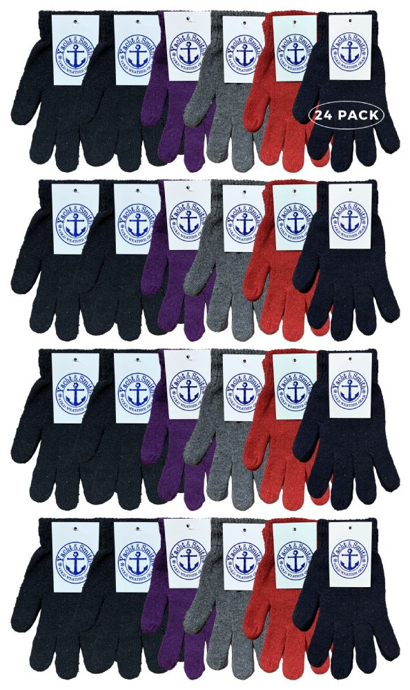 24 Bulk Yacht & Smith Mens Womens, Warm And Stretchy Winter Gloves (24 Pairs Assorted)