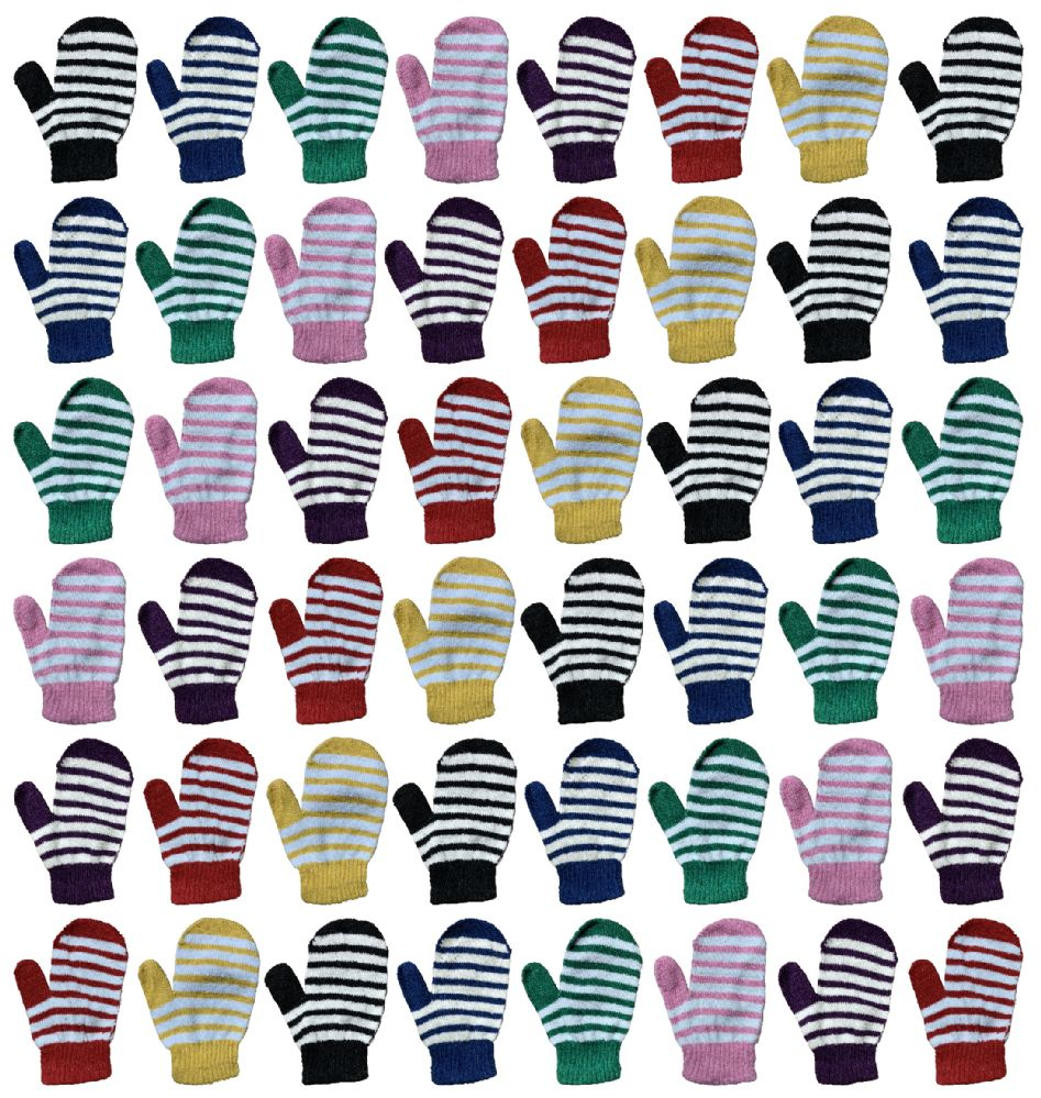 48 Bulk Yacht & Smith Kids Striped Mitten With Stretch Cuff Ages 2-8