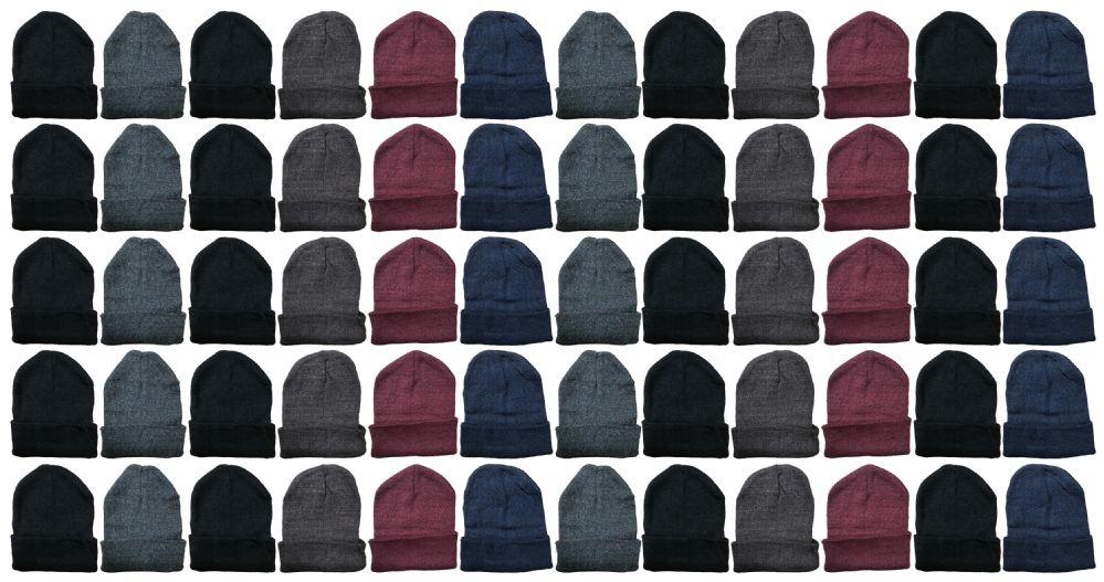 60 Bulk Yacht & Smith Unisex Winter Warm Acrylic Knit Hat Beanie