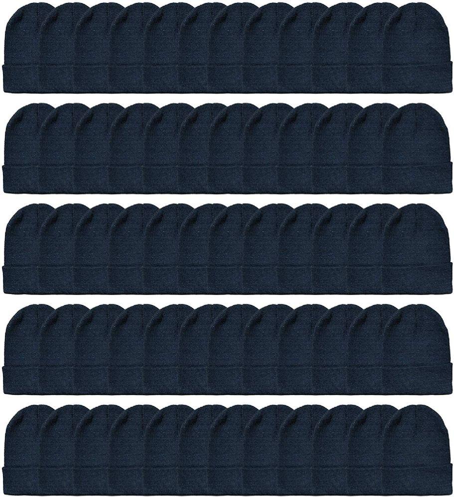 120 Bulk Yacht & Smith Unisex Winter Warm Beanie Hats In Solid Black