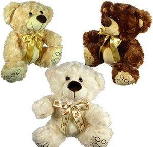 12 Bulk Plush Curly Fur Bears With Paw Print Cravats