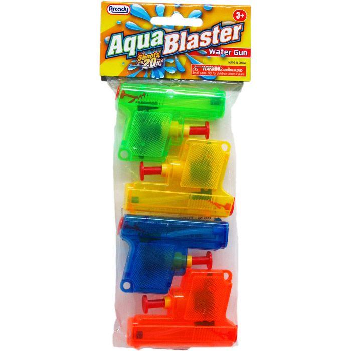 "96 Bulk 4pc 2.75"" Water Toy Gun In Poly Bag W/ Header, 2 Assrt Style"
