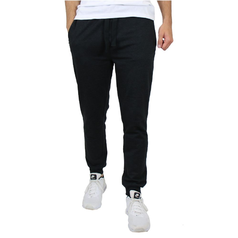 24 Bulk Men's Slim-Fit French Terry Joggers Solid Black Assorted Sizes S-XXL