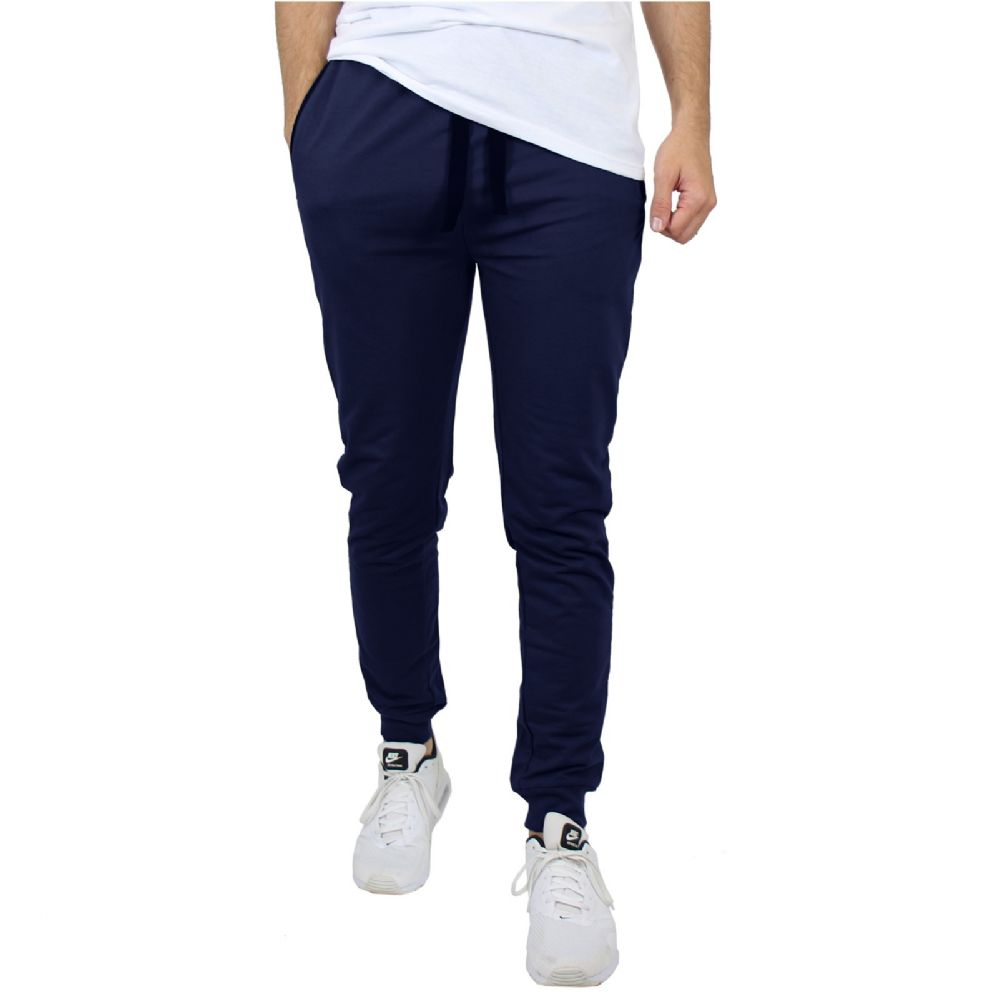 24 Bulk Men's Slim-Fit French Terry Joggers Solid Navy Assorted Sizes S-XXL