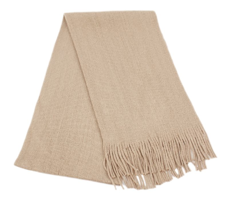 18 Bulk Mens Winter Solid Knit Scarf In Khaki