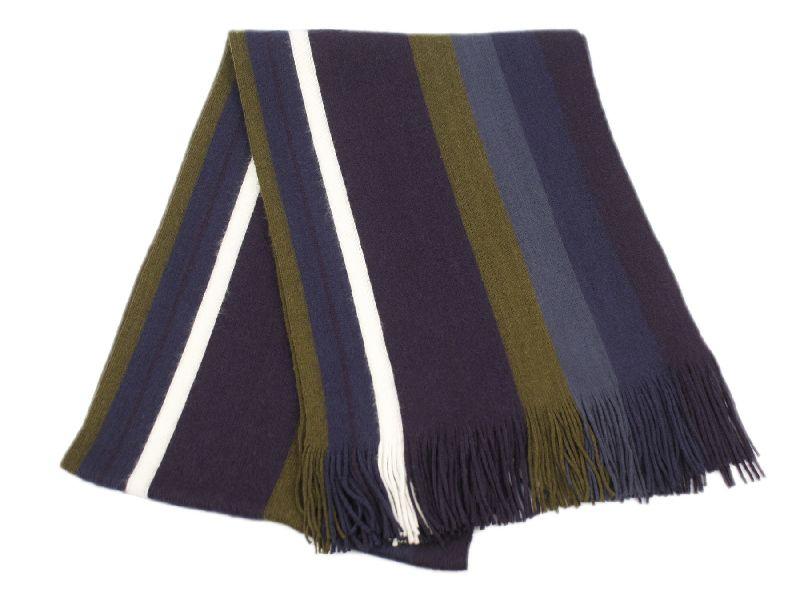 18 Bulk Mens Winter Knit Stripe Scarf In Navy