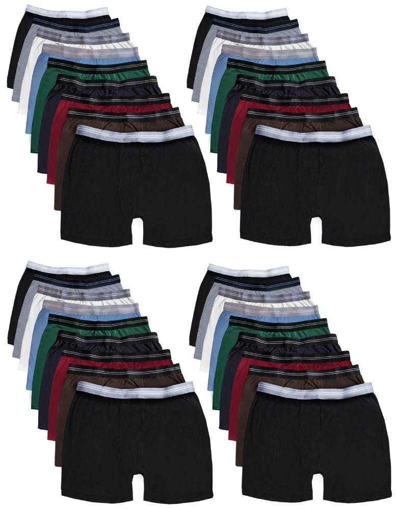 24 Bulk Yacht & Smith Mens 100% Cotton Boxer Brief Assorted Colors Size Medium
