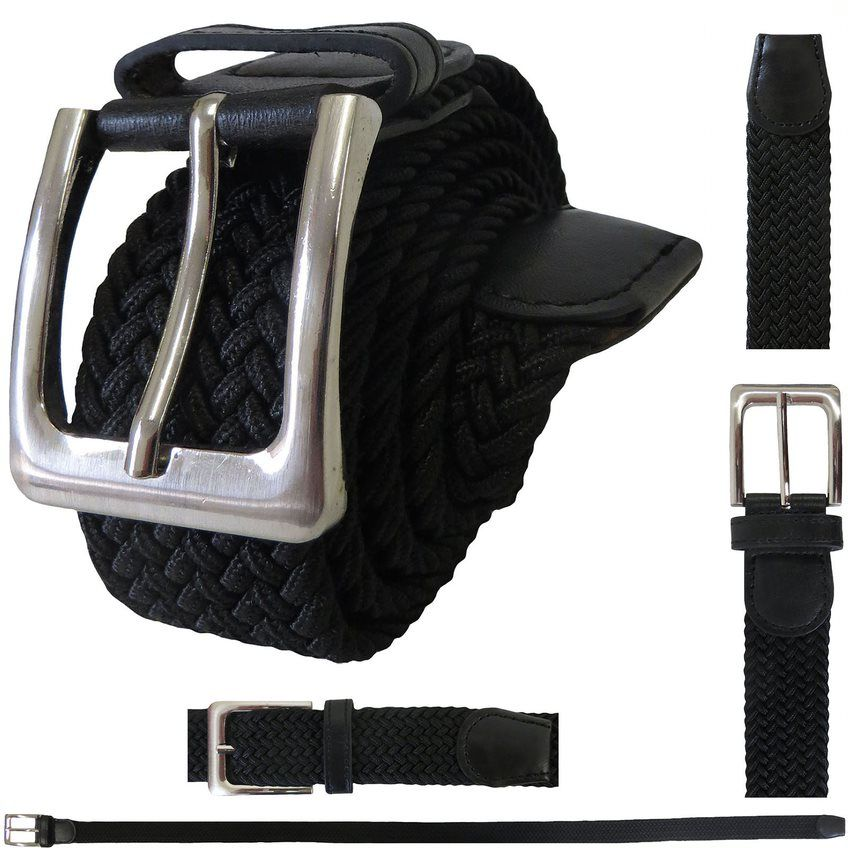 48 Bulk ELASTIC STRETCH BELT BLACK