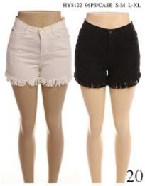 24 Bulk Women's Fashion Solid Color Shorts With Button In Assorted Two Colors