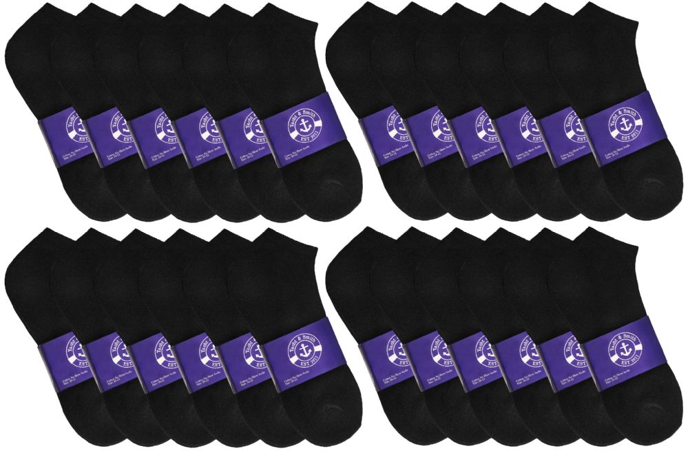 36 Bulk Yacht & Smith Mens Black Lightweight Cotton No Show Ankle Socks, Sock Size 10-13