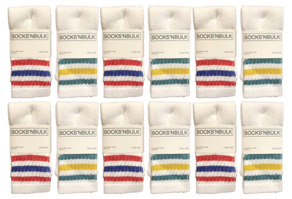 240 Bulk Yacht & Smith Kids Cotton Tube Socks Size 6-8 White With Stripes Bulk Pack