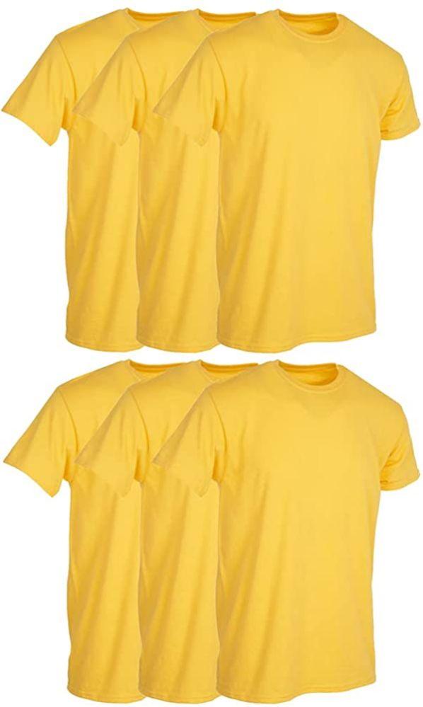 6 Bulk Mens Yellow Cotton Crew Neck T Shirt Size X Large